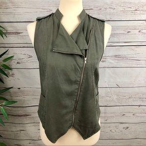 MOSSIMO Army Green Asymmetrical Zip Vest sz XS